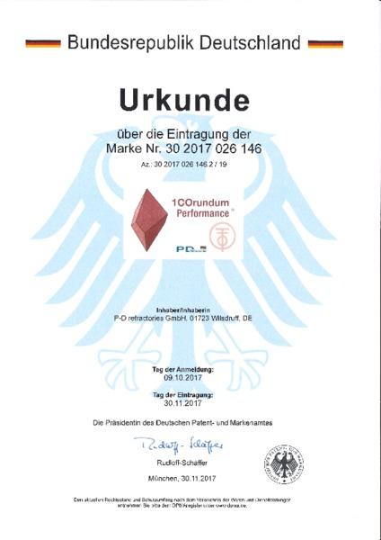 P-D Refractories GmbH - Urkunde Markeneintragung 100 Corundum Performance™