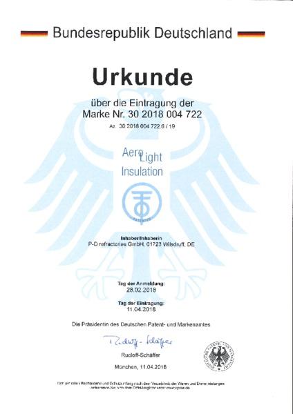 P-D Refractories GmbH - Urkunde Markeneintragung AeroLight Insulation™