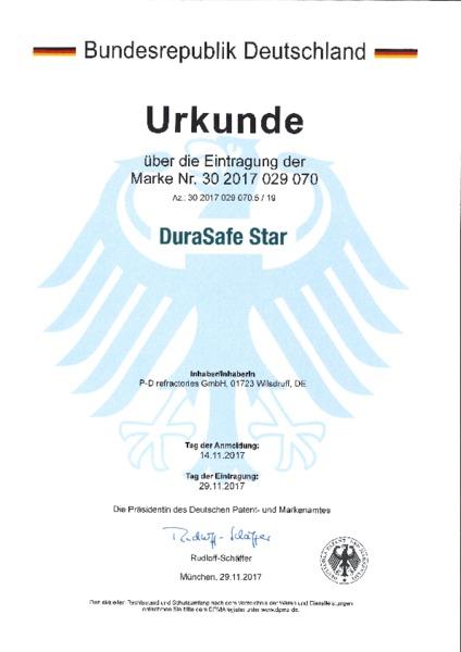 P-D Refractories GmbH - Urkunde Markeneintragung DuraSafe Star™