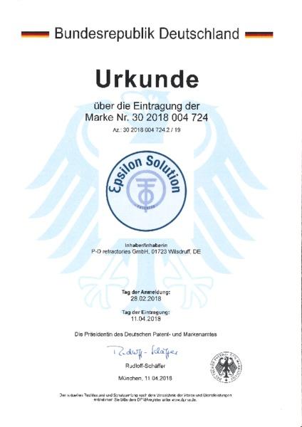 P-D Refractories GmbH - Urkunde Markeneintragung Ɛpsilon Solution™