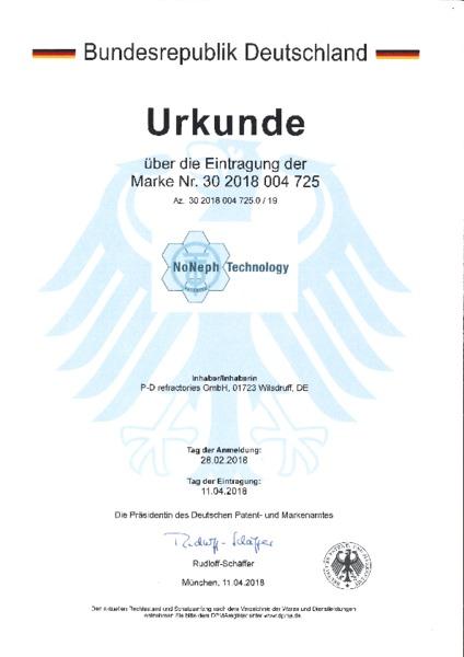 P-D Refractories GmbH - Urkunde Markeneintragung NoNeph Technology™
