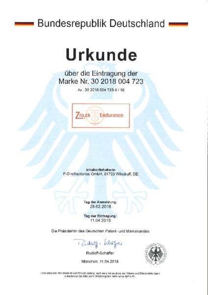 P-D Refractories GmbH - Urkunde Markeneintragung Zro₂ck Endurance™