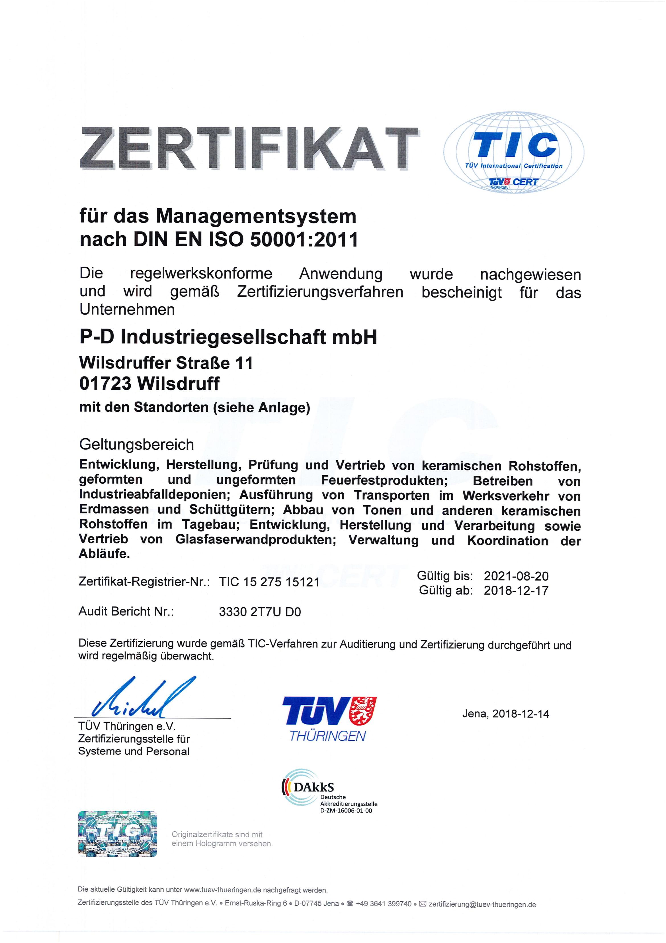 P-D Industriegesellschaft mbH · DIN EN ISO 50001:2011
