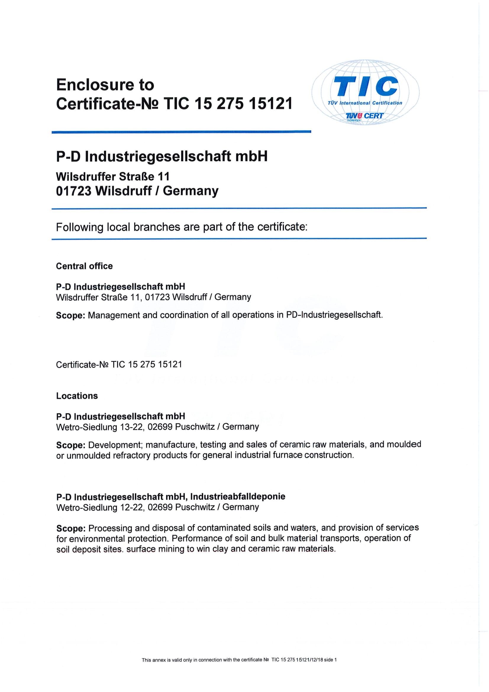 P-D Industriegesellschaft mbH · DIN EN ISO 50001:2011 (Enclosure)