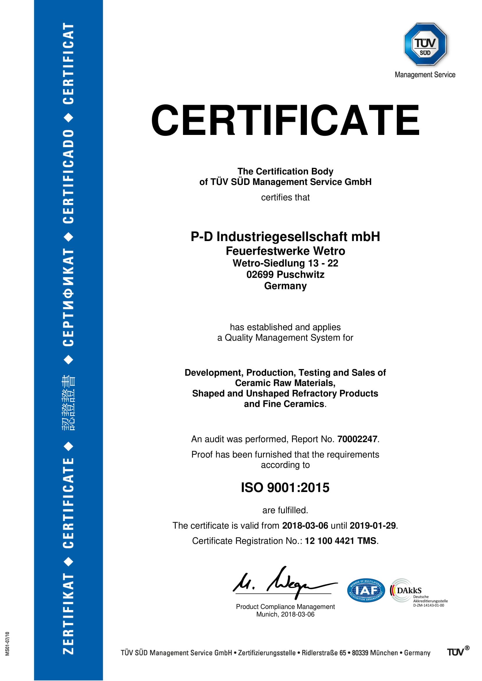 P-D Industriegesellschaft mbH, Feuerfestwerke Wetro · ISO 9001:2015