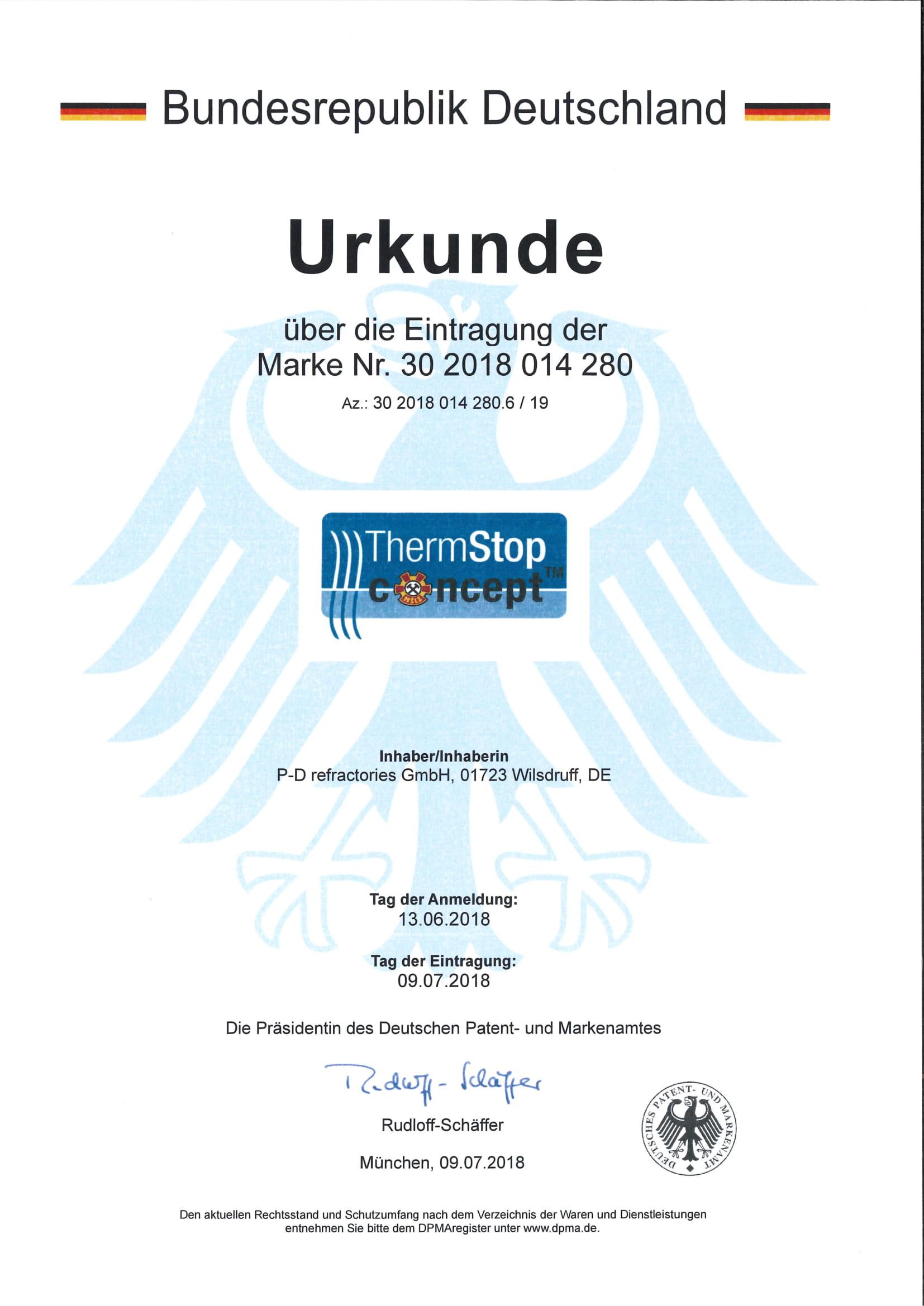 P-D Refractories GmbH - Urkunde Markeneintragung ThermStop™