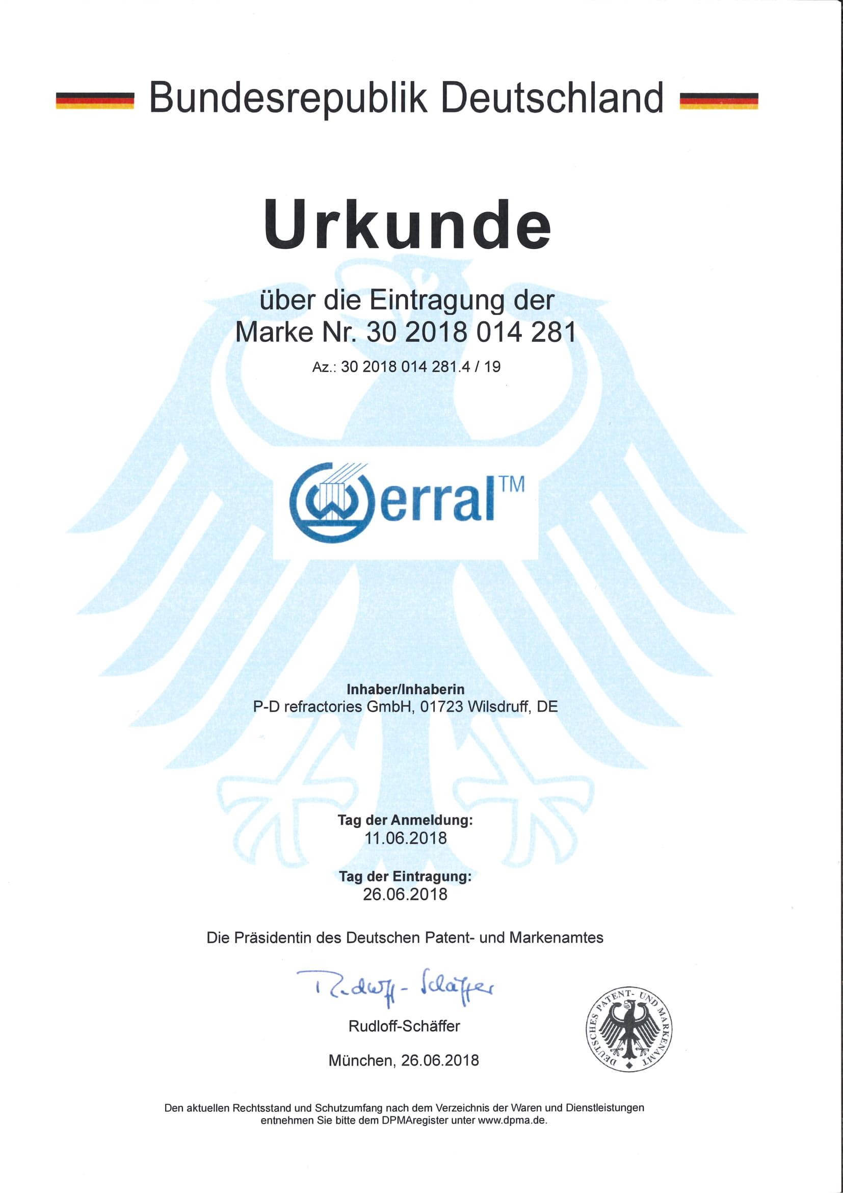 P-D Refractories GmbH - Urkunde Markeneintragung Werral™